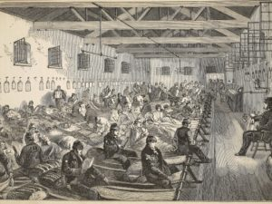 Dormitory at Coldbath Fields Prison, illustration from 'The Criminal Prisons of London and Scenes from Prison Life' by Henry Mayhew and John Binny, pub. 1862 (engraving)